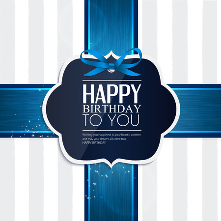 Vector birthday card with ribbon and birthday text  Illustration