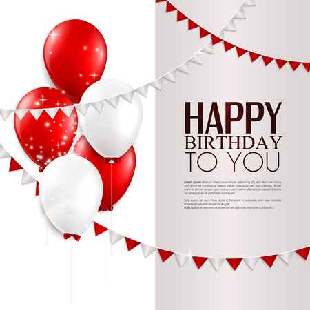 red balloons: Vector birthday card with balloons, and birthday text