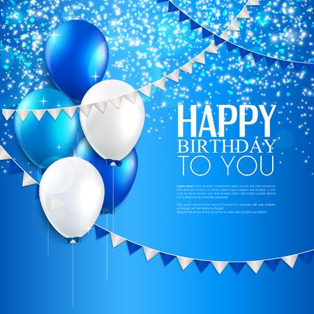 風船、誕生日本文とベクトルの誕生日カード  イラスト・ベクター素材