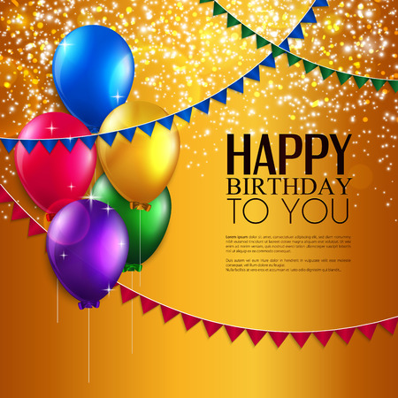Vector verjaardagskaart met ballonnen, en birthday tekst Stock Illustratie