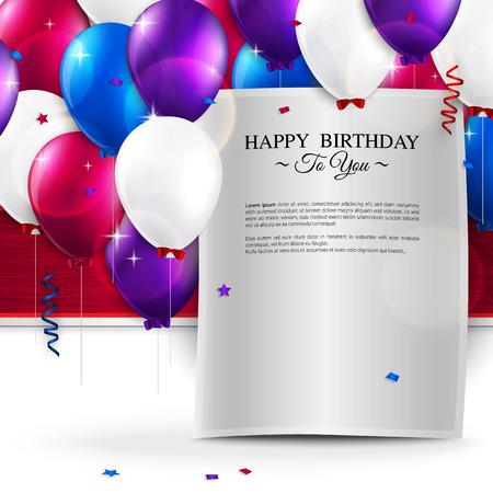 personas saludandose: Vector tarjeta de cumpleaños con globos, y el texto de cumpleaños