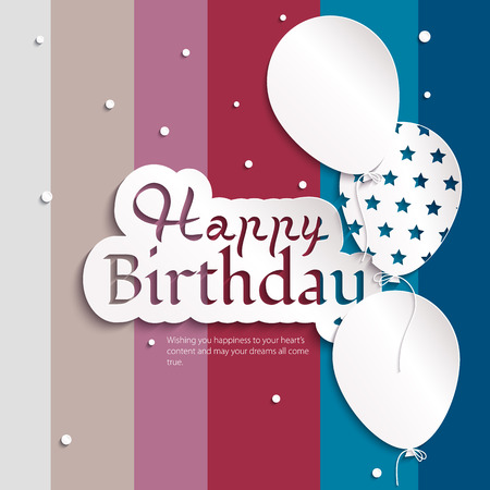 birthday greetings: Vector birthday card with balloons, and birthday text
