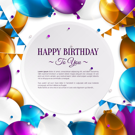 Vector birthday card with balloons and birthday text. Иллюстрация