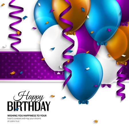 personas saludandose: Vector tarjeta de cumpleaños con globos y el texto de cumpleaños.