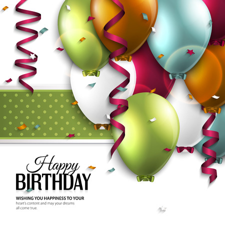Vector birthday card with balloons and birthday text. Ilustração