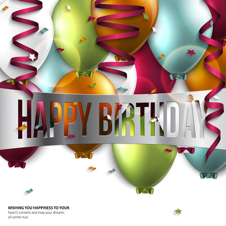 Vector birthday card with balloons and birthday text. Vector
