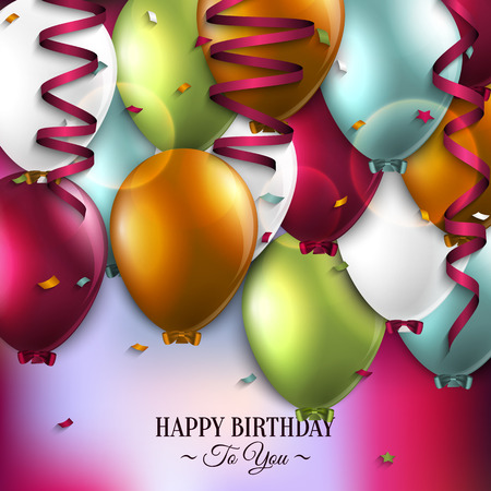 Vector birthday card with balloons and birthday text. Illustration