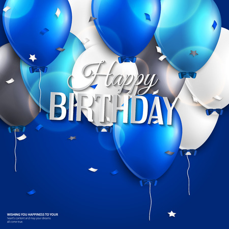 Vector birthday card with balloons and birthday text on blue background. Vector