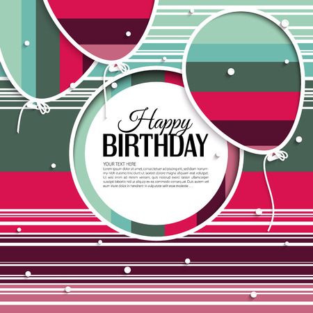 Vector birthday card with balloons and birthday text on stripes background. Vector