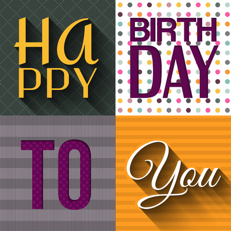cute cards: Vector birthday card with birthday text. Illustration