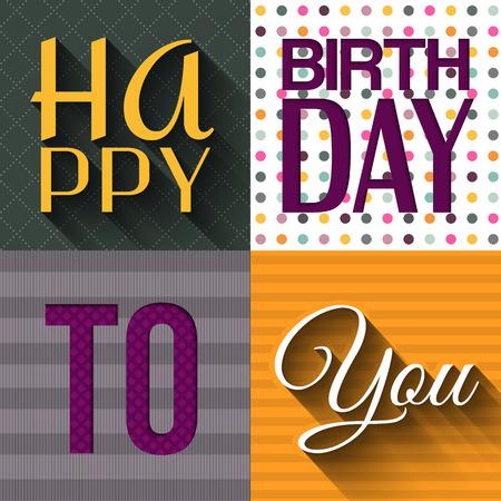 birthday present: Vector birthday card with birthday text. Illustration