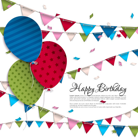 Vector birthday card with balloons and bunting flags. Ilustração