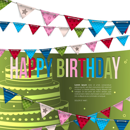 Vector birthday card with bunting flags. Vector