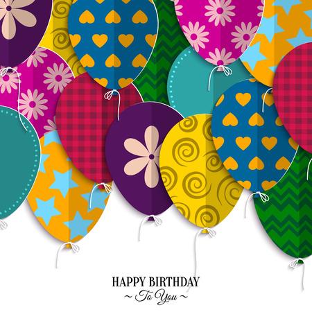 verjaardagskaart met papieren ballonnen en verjaardag tekst.