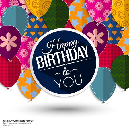 Verjaardagskaart met papieren ballonnen en verjaardagstekst.