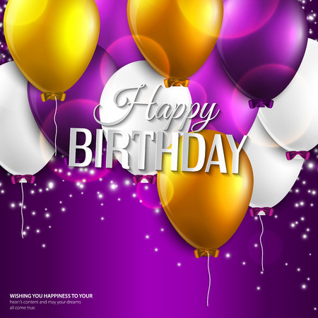 birthday card with balloons and birthday text on purple background.