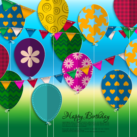 balloons party: birthday card with paper balloons, bunting flags and birthday text. Illustration