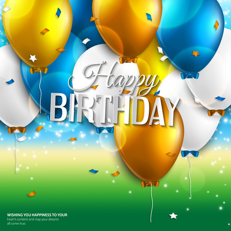 Vector birthday card with balloons and birthday text on colorful background. Vector