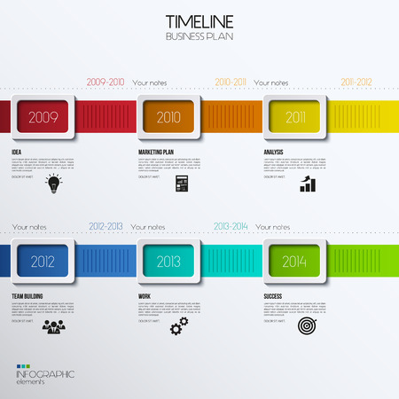 time line: Vector infographic timeline showing business plan with icons.
