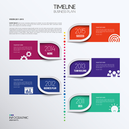 Vector infographic timeline showing business plan with icons.