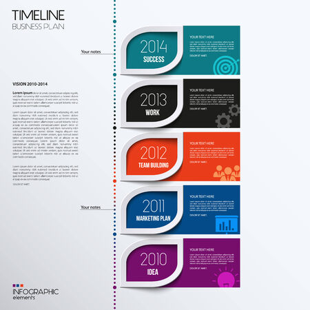 financial year: Vector infographic timeline showing business plan with icons.