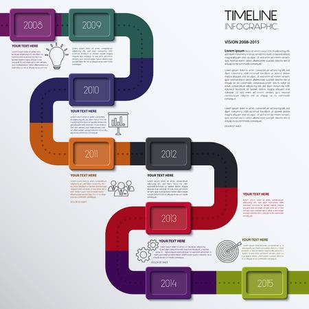 ベクトル タイムライン インフォ グラフィック。モダンなシンプルなデザイン。