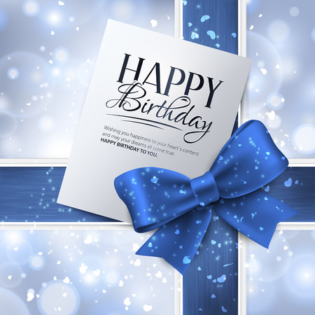 Vector birthday card with blue ribbon and birthday text.