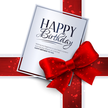 Vector birthday card with red ribbon and birthday text.