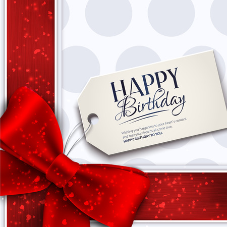 Vector birthday card with red ribbon and birthday text on tag. Vector