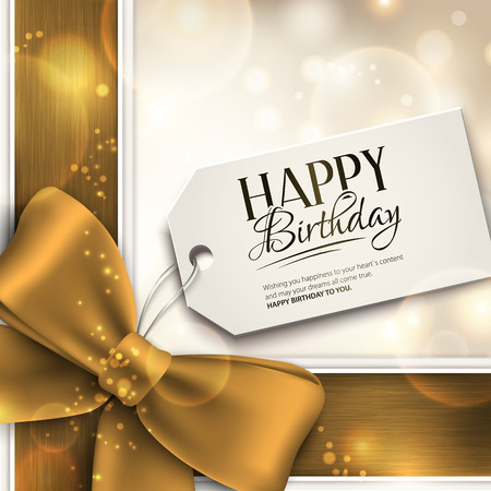 Vector birthday card with ribbon and birthday text on tag.