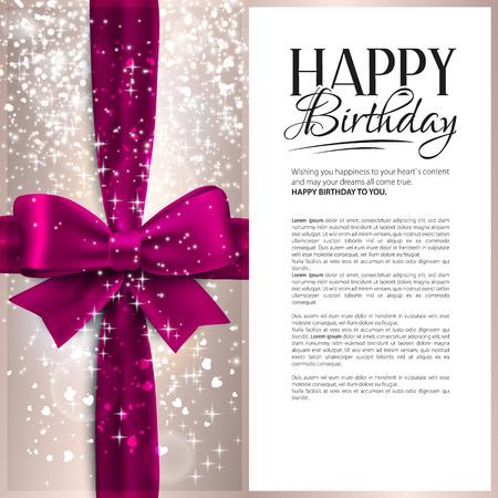 elegante: Cartão de aniversário do vetor com fita cor de rosa e um texto de aniversário. Ilustração