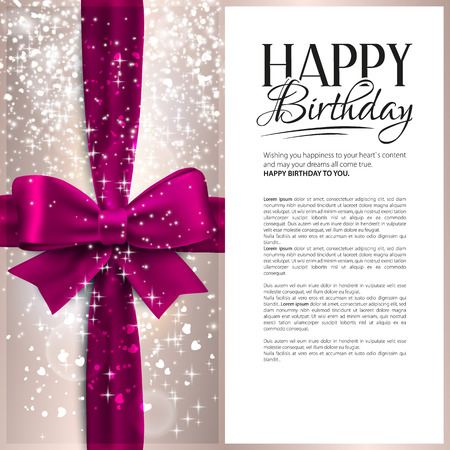 Vector birthday card with pink ribbon and birthday text. Çizim