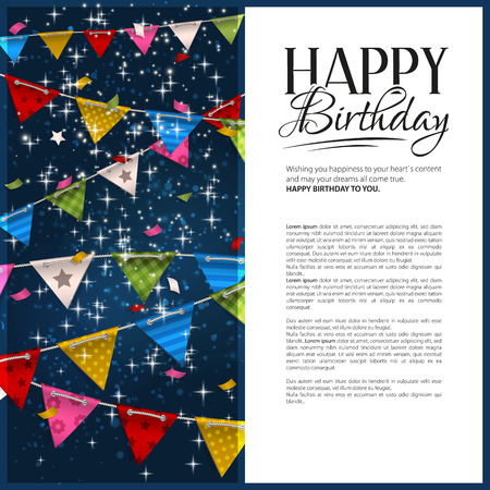 Vector birthday card with confetti and bunting flags. Stock Illustratie