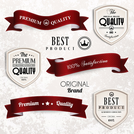 discount banner: Vector set of retro vintage ribbons and badges