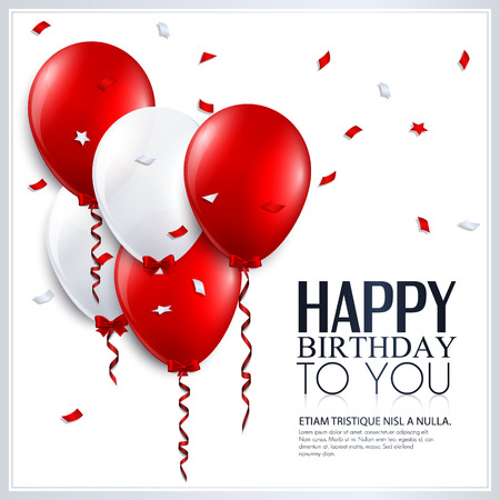 Vector birthday card with balloons and confetti  Çizim