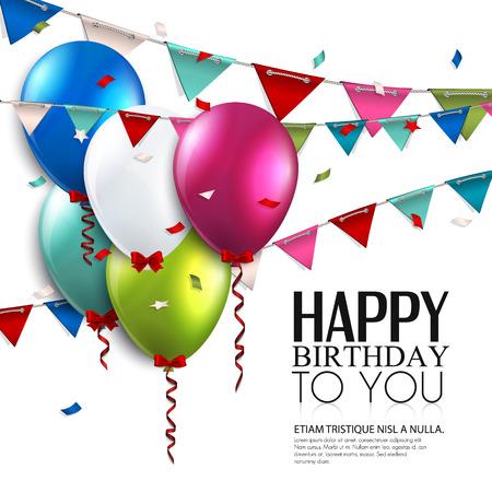 Vector tarjeta de cumpleaños con globos y banderas del empavesado
