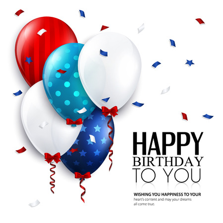 Vector birthday card with balloons and confetti  Illustration