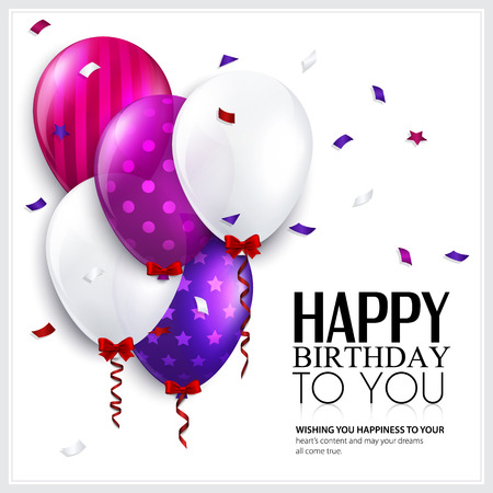 Vector birthday card with balloons and confetti  Vectores