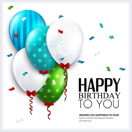 bright card: Vector birthday card with balloons and confetti  Illustration