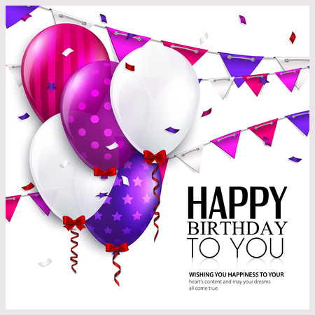 helium balloon: Vector birthday card with balloons and bunting flags