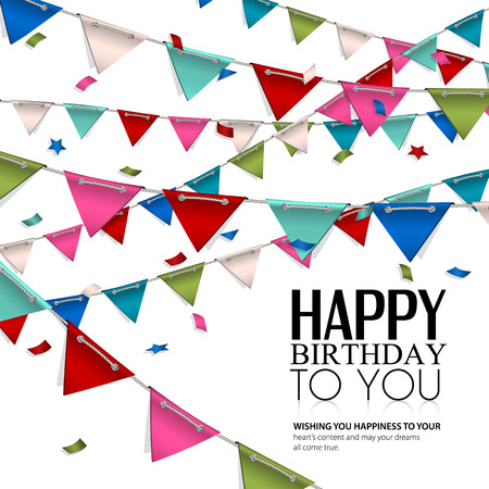 Vector birthday card with confetti and bunting flags