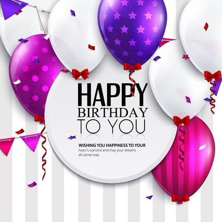 Vector birthday card with balloons and bunting flags on stripes background  Illustration