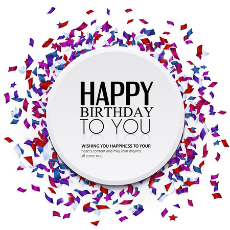 anniversary wishes: Vector birthday card with confetti and birthday text