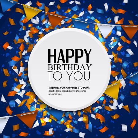 축하: 색종이와 깃발 천 플래그 벡터 생일 카드