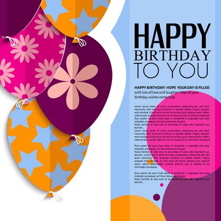 globos de cumpleaños: Vector tarjeta de cumpleaños con globos de papel y el texto