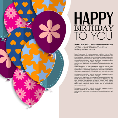 Vector birthday card with paper balloons and text  Vector