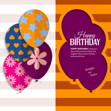surprise party: Vector birthday card with paper balloons and text