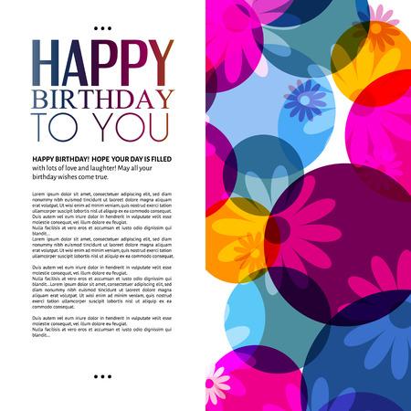 Vector verjaardagskaart met bloemen op kleurrijke achtergrond