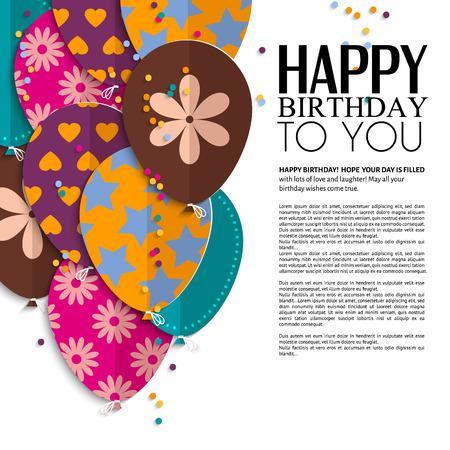 Vector verjaardagskaart met papier ballonnen en tekst