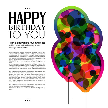 play card: Vector birthday card with color balloons and text